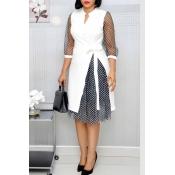 Lovely Sweet Patchwork White Knee Length Dress