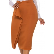 Lovely Casual Straight Coffee Skirt