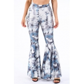 Lovely Casual Flared Print Blue Pants