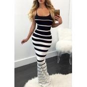 Lovely Chic Striped Skinny Black Maxi Dress