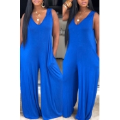 Lovely Leisure Basic Loose Blue One-piece Jumpsuit