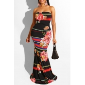 Lovely Leisure Dew Shoulder Print Black Maxi Dress