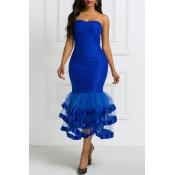 Lovely Chic Flounce Blue Trumpet Mermaid Dress