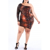 Lovely Casual Print Brown Mini Plus Size Dress