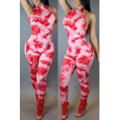 Lovely Leisure Print Skinny Red One-piece Jumpsuit