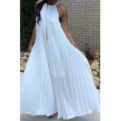 Lovely Bohemian Fold Design White Ankle Length Dre