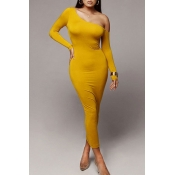 Lovely Chic Dew Shoulder Yellow Ankle Length Dress