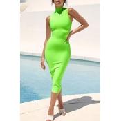 Lovely Casual Tank Skinny Green Mid Calf Dress