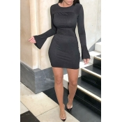 Lovely Casual Skinny Black Mini Dress