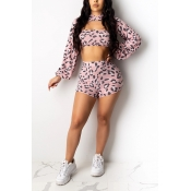 Lovely Chic Print Pink Two-piece Shorts Set