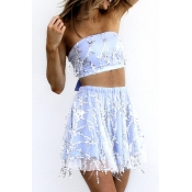 Lovely Chic Dew Shoulder Baby Blue Two-piece Skirt