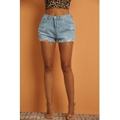 Lovely Chic Broken Hole Blue Denim Shorts