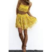 Lovely Chic Dew Shoulder Yellow Two-piece Skirt Set