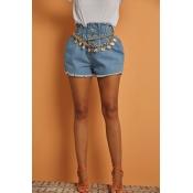 Lovely Chic Fold Design Blue Denim Shorts