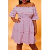Lovely Casual Flounce Pink Plus Size Two-piece Ski