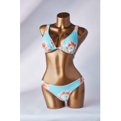 Lovely Floral Print Blue Two-piece Swimsuit