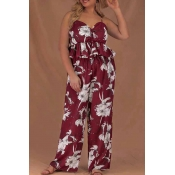 Lovely Casual Print Wine Red Plus Size Two-piece P