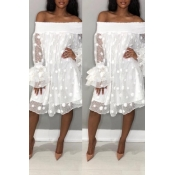 Lovely Stylish Off The Shoulder Horn Sleeve White Knee Length Dress