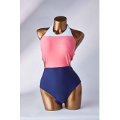 Lovely Patchwork Multicolor One-piece Swimsuit