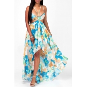 Lovely Casual Backless Print Green Ankle Length  D