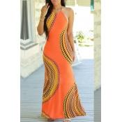 Lovely Chic Print Croci Ankle Length  Dress