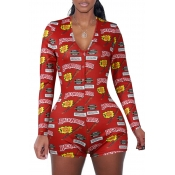 Lovely Leisure Print Red One-piece Romper