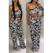 Lovely Trendy One Shoulder Black Two-piece Pants S