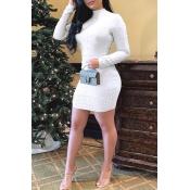 Lovely Chic Turtleneck Skinny White Mini  Dress