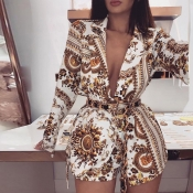 Lovely Chic V Neck Print Deep Yellow Two-piece Sho
