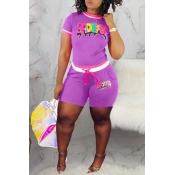 Lovely Stylish Print Purple Two-piece Shorts Set