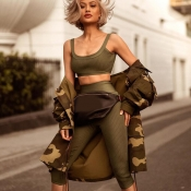Lovely Trendy Crop Top Green Two-piece Pants Set