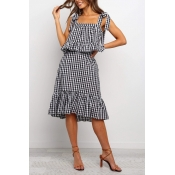 Lovely Trendy Plaid Print Black And White Two-piec
