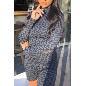 Lovely Chic Print Black Two-piece Shorts Set