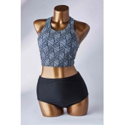 Lovely Ptint Black Two-piece Swimsuit