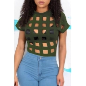 Lovely Casual  Hollow-out Army Green T-shirt