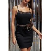 Lovely Chic Lace Patchwork Black  Mini Dress