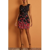 Lovely Casual Print Black Knee Length Dress