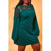 Lovely Chic Patchwork Green Plus Size  Mini Dress