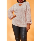Lovely Casual Hollow-out Pink Plus Size Sweater