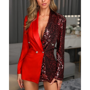 Lovely Chic Patchwork Red Blazer