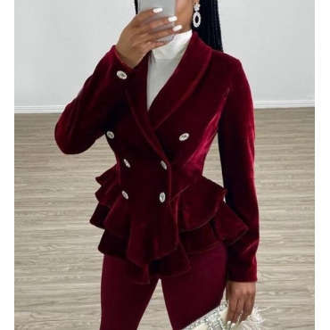 Lovely Sweet Buttons Design Wine Red Blazer