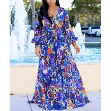 Lovely Bohemian V Neck Print Blue Maxi Dress