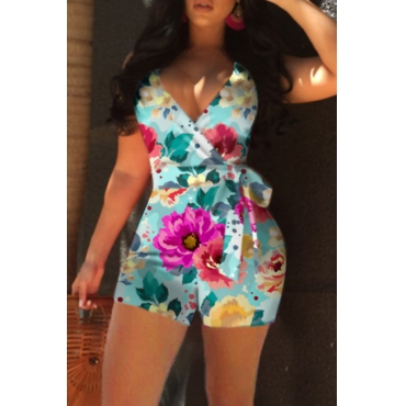Lovely Leisure Floral Print Cyan One-piece Romper