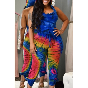 Lovely Casual Print Blue One-piece Jumpsuit
