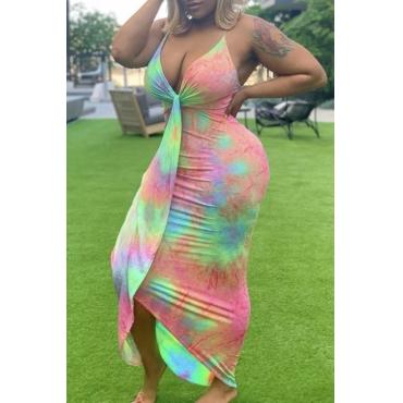 Lovely Bohemian V Neck Tie-dye Pink Maxi Dress