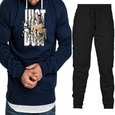 Lovely Casual Hooded Collar Print Navy Blue Two-piece Pants Set