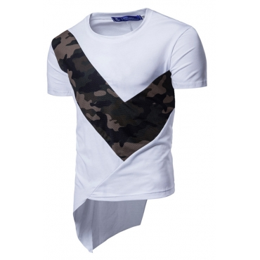 Lovely Casual Color-lump Patchwork White T-shirt