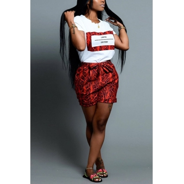 Lovely Casual Print Red Two-piece Shorts Set