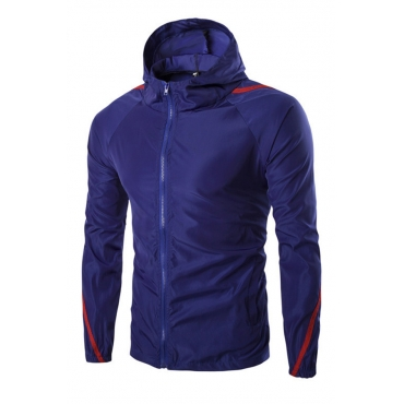 Lovely Casual Patchwork Royal Blue Jacket