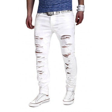 Lovely Casual Hollow-out White Pants